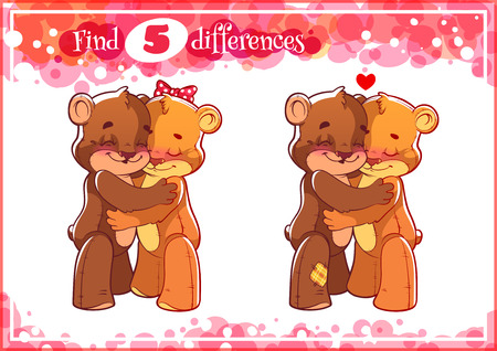 difference: Education game for preschool kids, find the differences. Two cute enamored bears. Cartoon illustration.