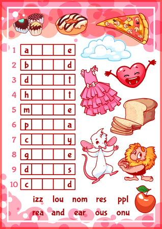Education rebus game for preschool kids. Find the correct part of words. Cartoon vector illustration. Vectores