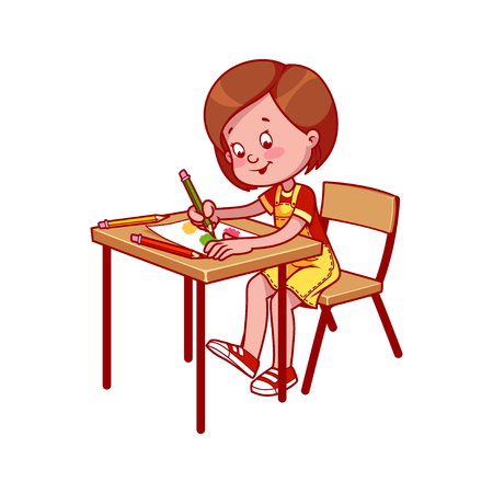 cartoon school girl: School girl at a school desk drawing with crayons. cartoon illustration isolated on a white background. Illustration