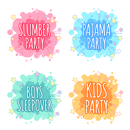 sleepover: Kids party badges for kids party in the spot shape. Vector clip art illustration on a white background.