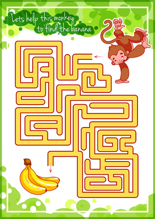 Maze game for kids with monkey and banana. Lets help this monkey to find his way to the banana. Vector template page with game.