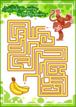platano caricatura: Laberinto juego para los niños con el mono y el plátano. Vamos a ayudar a este mono para encontrar su camino a la banana. Vector plantilla de página con el juego.