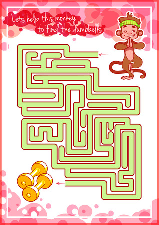 cheerful cartoon: Maze game for kids with monkey and dumbbells. Lets help this monkey to find his way to the dumbbells. Vector template page with game.
