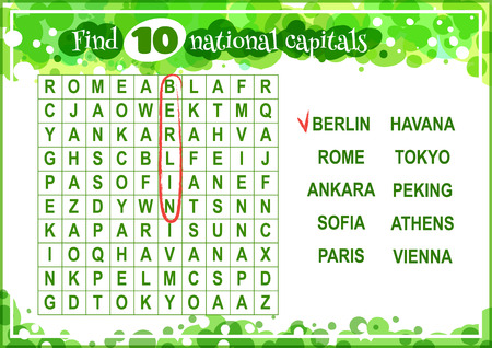 horizontal orientation: Educational game for kids, word search. Find 10 national capitals. Worksheet for class or at home with the kids. A4 size. Horizontal orientation. Illustration