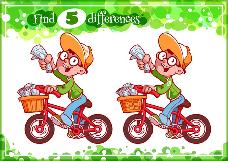 difference: Educational game for preschool kids, find the differences. Cute boy with newspaper. Cartoon vector illustration. Illustration