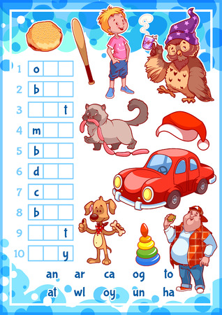 Education rebus game for preschool kids. Find the correct part of words. Cartoon vector illustration. Illustration