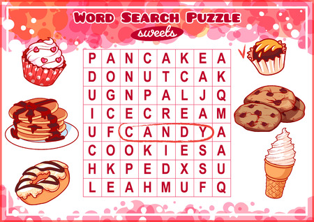 Educational game for kids, word search. Word search puzzle with sweets. Worksheet for class or at home with the kids. A4 size. Horizontal orientation.