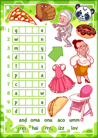 answers: Education rebus game for preschool kids. Find the correct part of words. Cartoon vector illustration. Illustration