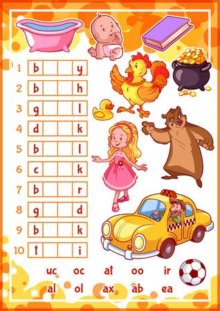 cartoon child: Education rebus game for preschool kids. Find the correct part of words. Cartoon vector illustration. Illustration
