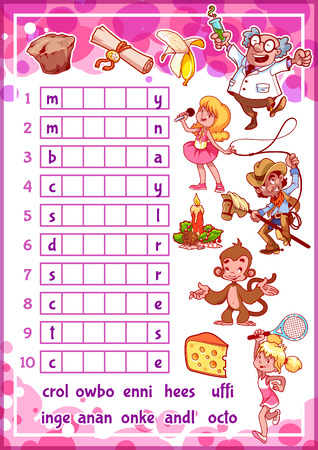 study cartoon: Education rebus game for preschool kids. Find the correct part of words. Cartoon vector illustration. Illustration