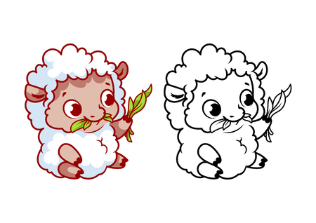 Cute little lamb. Cartoon vector character isolated on a white background with black outline. Illustration