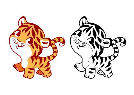 かわいい小さな虎。漫画ベクトル文字が白の背景に黒のアウトラインに分離されました。