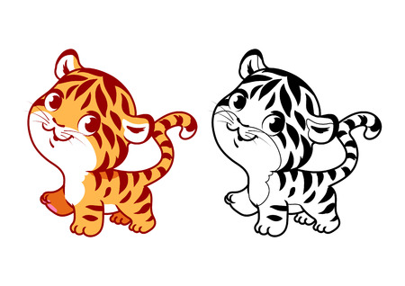 Cute little tiger. Cartoon vector character isolated on a white background with black outline.