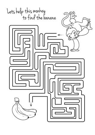원숭이와 바나나를 가진 아이들을위한 미로 게임. 이 원숭이가 바나나에가는 길을 찾도록 도와줍니다. 벡터 템플릿 페이지 게임입니다.