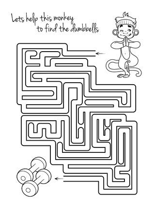 원숭이와 아령 아이들을위한 미로 게임. 아령으로 자신의 길을 찾으려면이 원숭이를 도와 수 있습니다. 게임 벡터 템플릿 페이지.