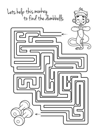 Maze game for kids with monkey and dumbbells. Lets help this monkey to find his way to the dumbbells. Vector template page with game.