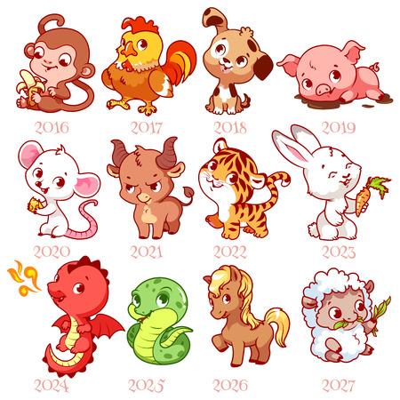 serpiente caricatura: Conjunto de signos del zodiaco en el estilo de dibujos animados. Zodiaco chino. Ilustración del vector aislado en un fondo blanco. Vectores