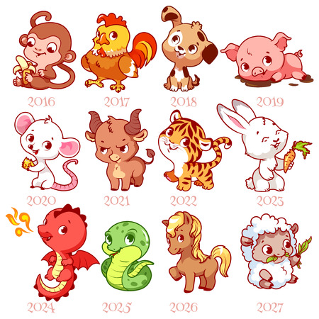 china chinese: Set of zodiac signs in cartoon style. Chinese zodiac. Vector illustration isolated on a white background.