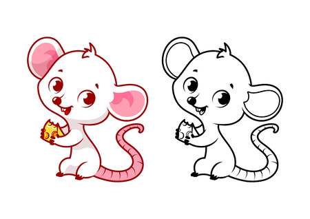 Cute mouse with cheese. Cartoon vector character isolated on a white background with black outline. Illustration