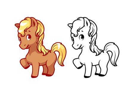 Cute little pony. Personaggio dei cartoni animati di vettore isolato su uno sfondo bianco con contorno nero.
