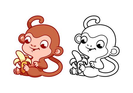 platano caricatura: peque�o mono lindo con el pl�tano. personaje de dibujos animados vector aislado en un fondo blanco con el esquema negro.