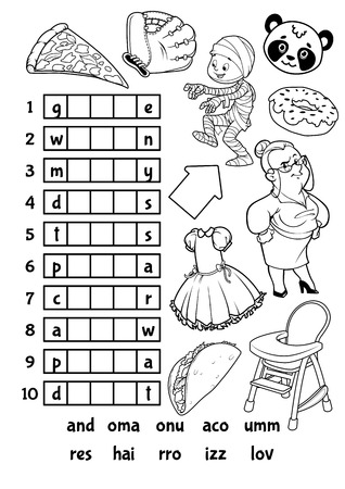answers: Educational rebus game for preschool kids. Find the correct part of words. Cartoon vector illustration. Illustration