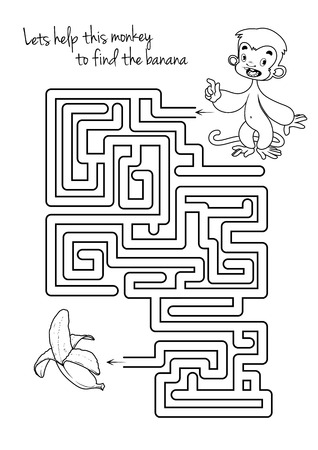 pathfinder: Maze game for kids with monkey and banana. Lets help this monkey to find his way to the banana. Vector template page with game.