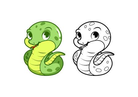 slither: Cute little green snake. Cartoon vector character isolated on a white background with black outline. Illustration