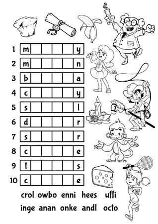 Educatieve rebus spel voor voorschoolse kinderen. Zoek de juiste deel van de woorden. Cartoon vector illustratie. Stock Illustratie