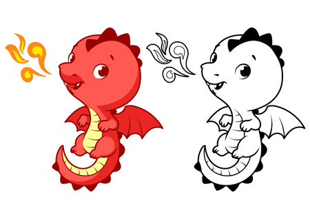 dinosaur cute: Cute little red dragon. Cartoon vector character isolated on a white background with black outline.