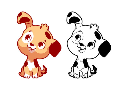 whelps: Cute little puppy. Cartoon vector character isolated on a white background with black outline.