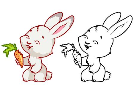 zanahoria caricatura: lindo conejo con la zanahoria. personaje de dibujos animados vector aislado en un fondo blanco con el esquema negro.