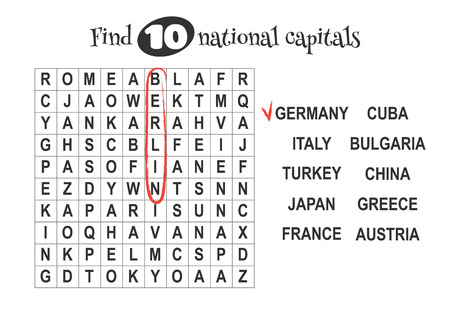 alumnos en clase: Educational game for kids, word search. Find 10 national capitals. Worksheet for class or at home with the kids. A4 size. Horizontal orientation. Vectores