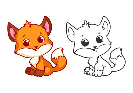 Cute little fox. Cartoon vector character isolated on a white background with black outline. Illustration