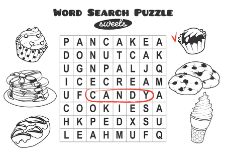 horizontal orientation: Educational game for kids, word search. Word search puzzle with sweets. Worksheet for class or at home with the kids. A4 size. Horizontal orientation.