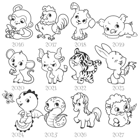 libro caricatura: Conjunto de signos del zodiaco en el estilo de dibujos animados. Zodiaco chino. Ilustración del vector aislado en un fondo blanco. Vectores