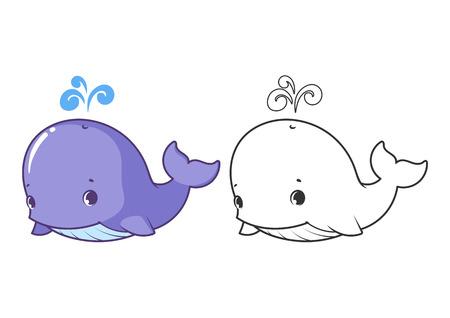 Słodkie małe wieloryby. Cartoon postaci wektorowej samodzielnie na białym tle z czarnym konspektu. Ilustracje wektorowe