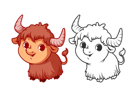 Cute little yak. Cartoon vector character isolated on a white background with black outline.