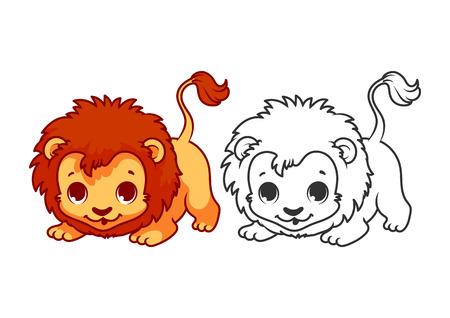 Lindo pequeno leão. Personagem de desenho vetorial isolada em um fundo branco com contorno preto.