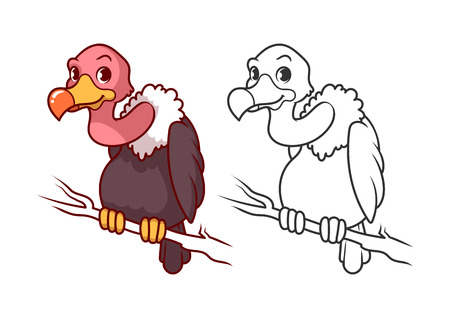 beak vulture: Cute little fox. Cartoon vector character isolated on a white background with black outline. Illustration