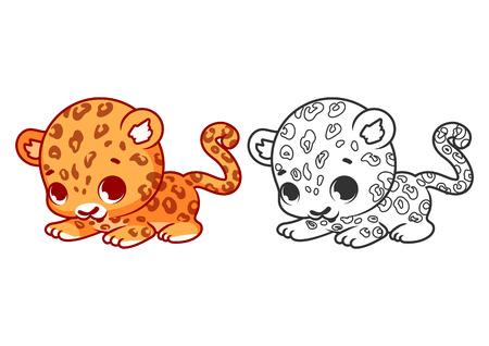 chita: Jaguar poco lindo. personaje de dibujos animados vector aislado en un fondo blanco con el esquema negro. Vectores