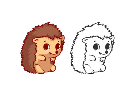 Cute little hedgehog. Cartoon vector character isolated on a white background with black outline.