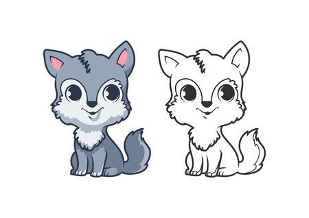 Cute little wolf. Cartoon vector character isolated on a white background with black outline.