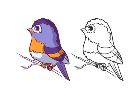 Cute little brambling. Cartoon vector character isolated on a white background with black outline. Illustration