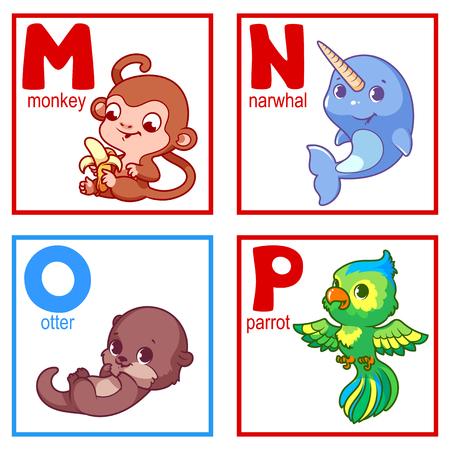 nutria caricatura: Un alfabeto con los animales lindos, letras M a los animales de dibujos animados divertidos p. alfabeto vector de dibujos animados aislado en un fondo blanco.