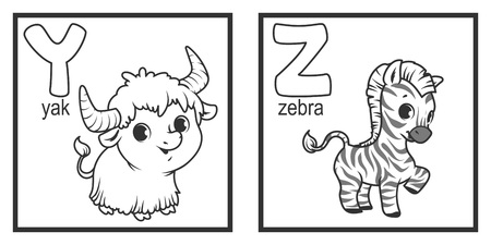 education cartoon: An alphabet with cute animals, letters Y to Z. Funny cartoon animals. Cartoon vector alphabet isolated on a white background. Illustration