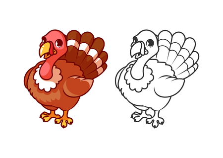 turkey: Cute little turkey. Cartoon vector character isolated on a white background with black outline. Illustration