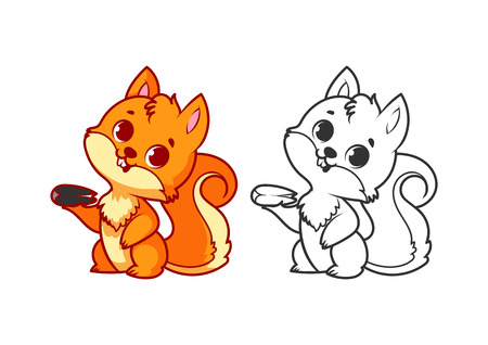 Cute little squirrel. Cartoon vector character isolated on a white background with black outline.