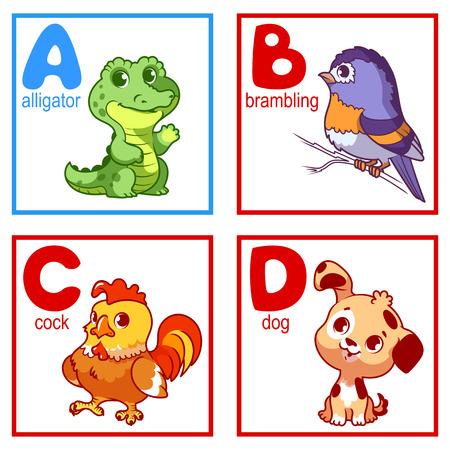 Een alfabet met schattige dieren, letters A tot en met D. Funny cartoon dieren. Cartoon vector alfabet geïsoleerd op een witte achtergrond.