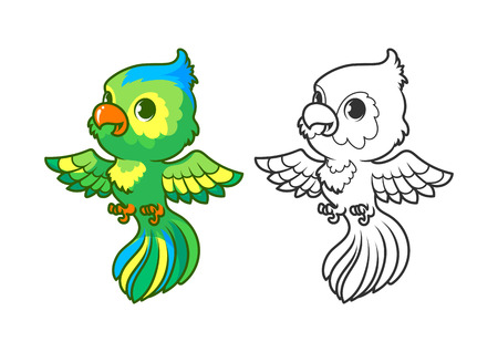 parakeet: Cute little parrot. Cartoon vector character isolated on a white background with black outline. Illustration